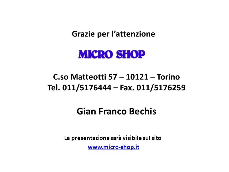 Grazie per lattenzione La presentazione sarà visibile sul sito www.micro-shop.it C.so Matteotti 57 – 10121 – Torino Tel. 011/5176444 – Fax. 011/517625