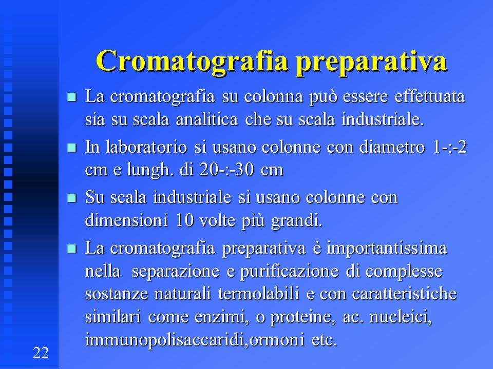 22 Cromatografia preparativa n La cromatografia su colonna può essere effettuata sia su scala analitica che su scala industriale. n In laboratorio si