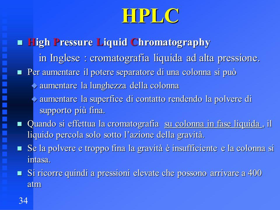 34 HPLC n High Pressure Liquid Chromatography in Inglese : cromatografia liquida ad alta pressione. in Inglese : cromatografia liquida ad alta pressio