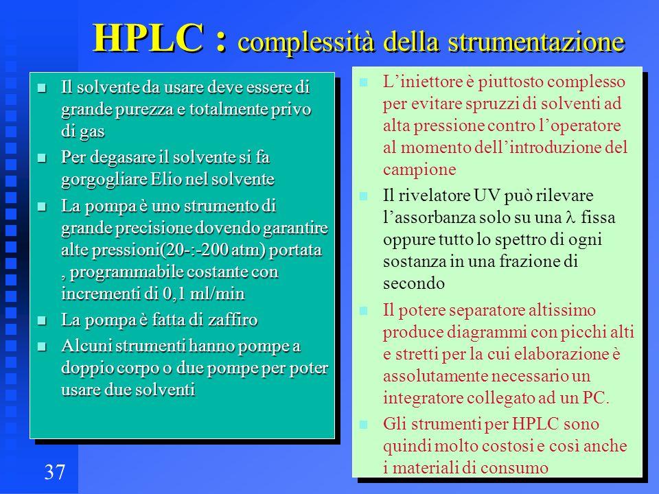 37 HPLC : complessità della strumentazione n Il solvente da usare deve essere di grande purezza e totalmente privo di gas n Per degasare il solvente s
