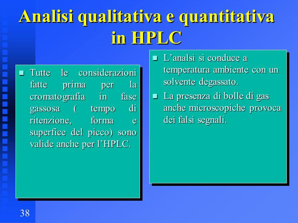 38 Analisi qualitativa e quantitativa in HPLC n Tutte le considerazioni fatte prima per la cromatografia in fase gassosa ( tempo di ritenzione, forma