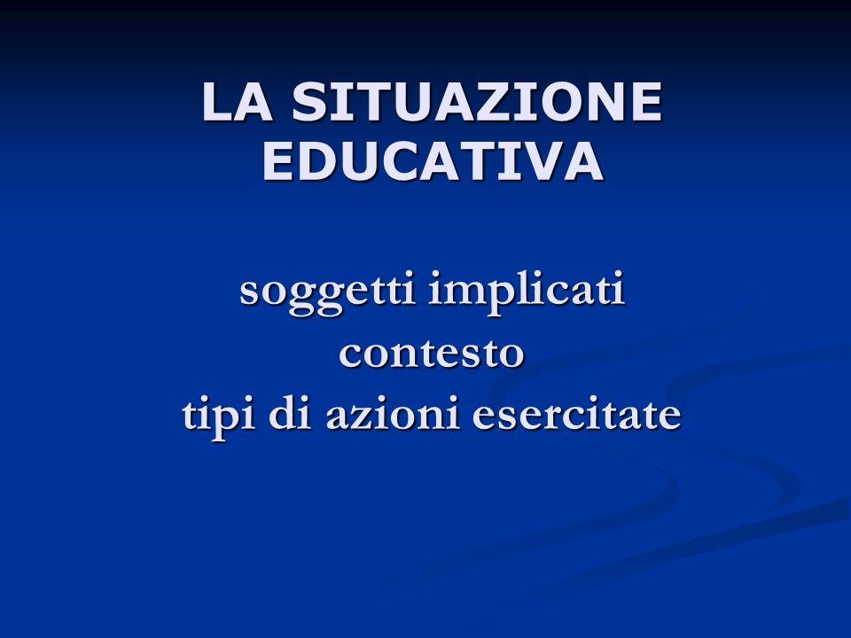 LA SITUAZIONE EDUCATIVA soggetti implicati contesto tipi di azioni esercitate