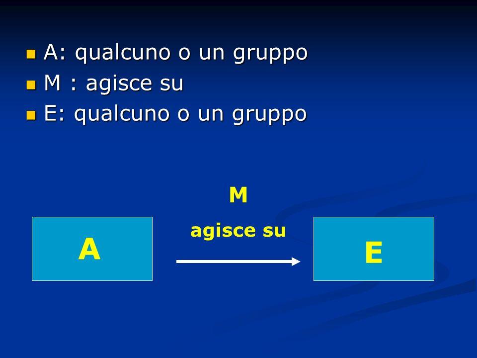A: qualcuno o un gruppo A: qualcuno o un gruppo M : agisce su M : agisce su E: qualcuno o un gruppo E: qualcuno o un gruppo A M agisce su E