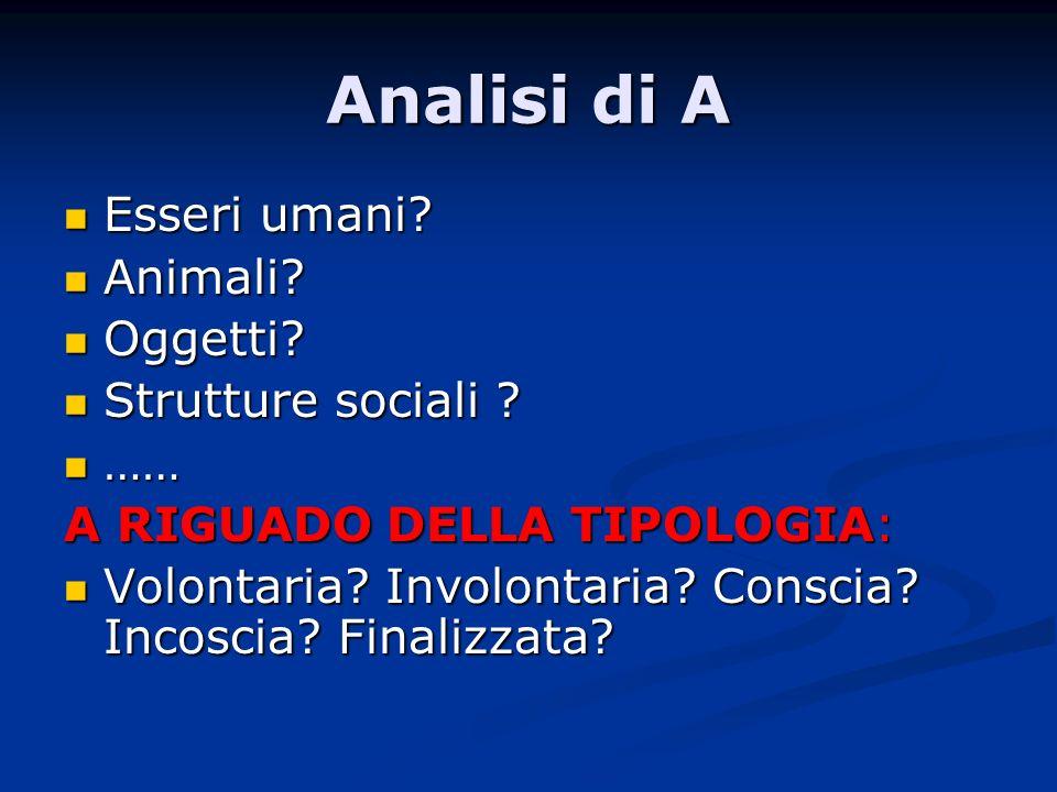 Analisi di A Esseri umani? Esseri umani? Animali? Animali? Oggetti? Oggetti? Strutture sociali ? Strutture sociali ? …… …… A RIGUADO DELLA TIPOLOGIA: