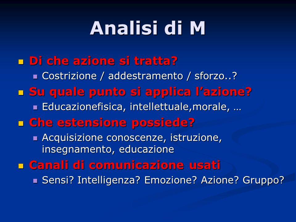 Analisi di M Di che azione si tratta? Di che azione si tratta? Costrizione / addestramento / sforzo..? Costrizione / addestramento / sforzo..? Su qual