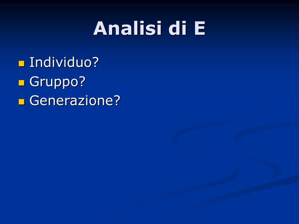 Individuo Individuo Gruppo Gruppo Generazione Generazione Analisi di E