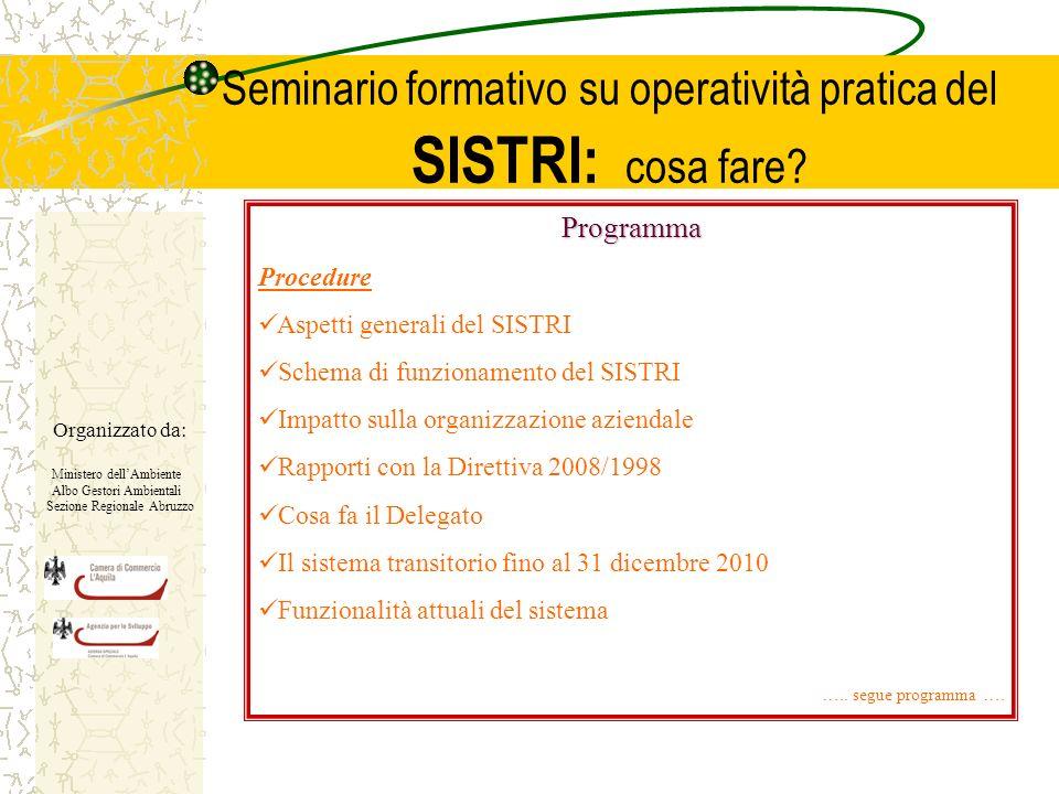 Seminario formativo su operatività pratica del SISTRI: cosa fare.
