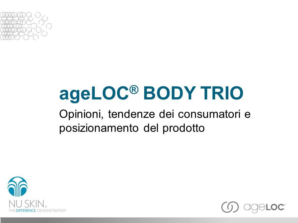 ageLOC ® Body Trio offre un aspetto più snello, levigato, elastico e giovane ripristinando unespressione dai contorni ben definiti, agendo sullaspetto della pelle con grasso e cellulite e levigando la pelle stessa.
