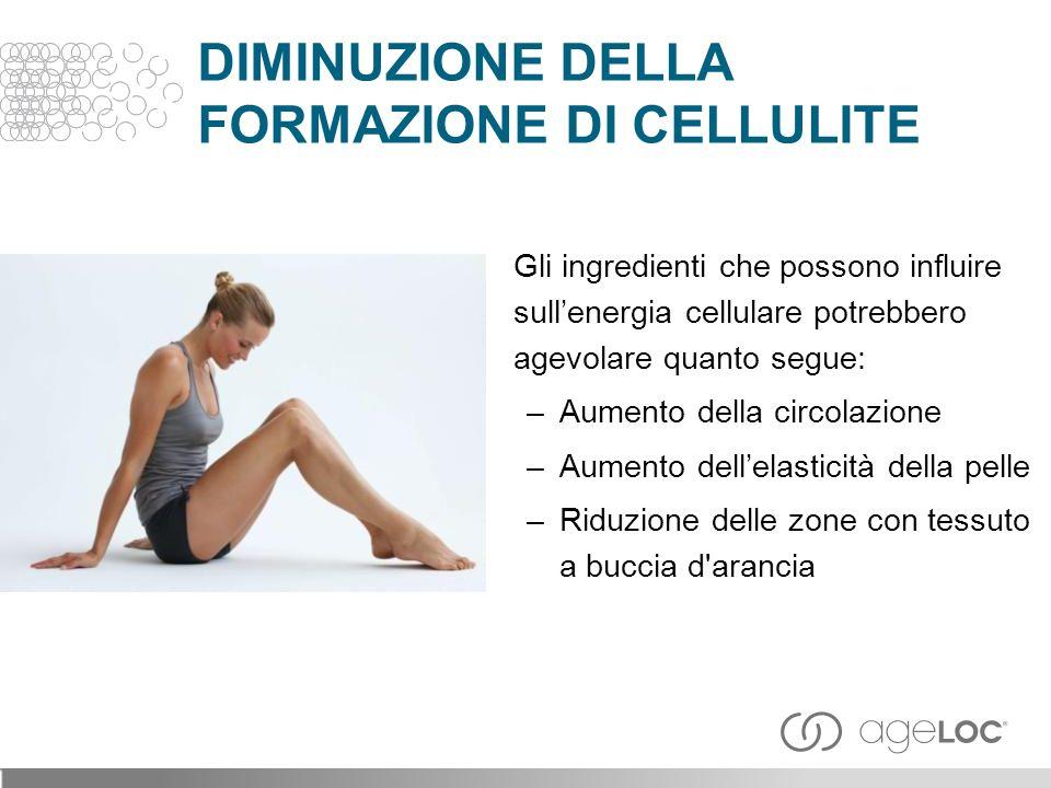 Gli ingredienti che possono influire sullenergia cellulare potrebbero agevolare quanto segue: –Aumento della circolazione –Aumento dellelasticità della pelle –Riduzione delle zone con tessuto a buccia d arancia DIMINUZIONE DELLA FORMAZIONE DI CELLULITE