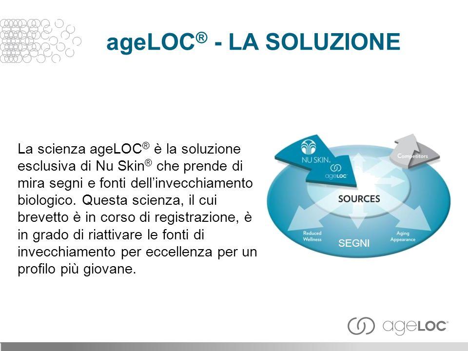La scienza ageLOC ® è la soluzione esclusiva di Nu Skin ® che prende di mira segni e fonti dellinvecchiamento biologico.