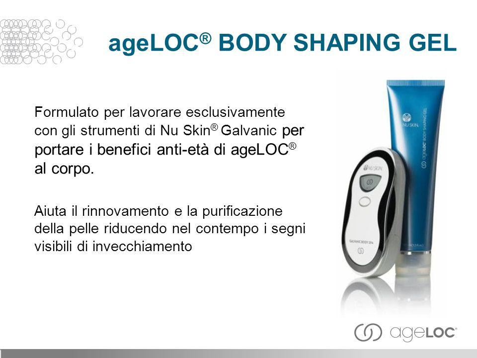 Formulato per lavorare esclusivamente con gli strumenti di Nu Skin ® Galvanic per portare i benefici anti-età di ageLOC ® al corpo.