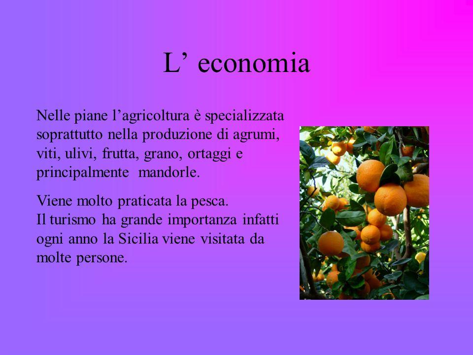 L economia Nelle piane lagricoltura è specializzata soprattutto nella produzione di agrumi, viti, ulivi, frutta, grano, ortaggi e principalmente mandorle.