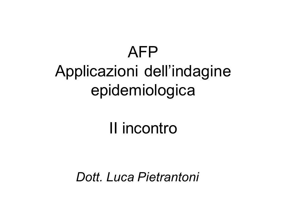 AFP Applicazioni dellindagine epidemiologica II incontro Dott. Luca Pietrantoni