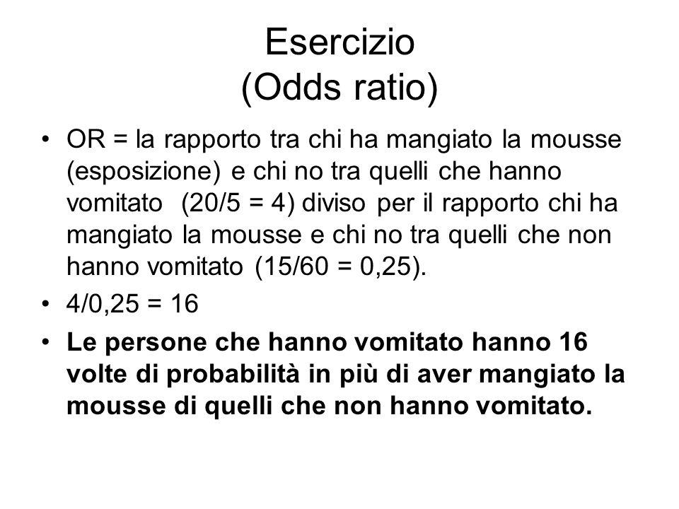 Esercizio (Odds ratio) OR = la rapporto tra chi ha mangiato la mousse (esposizione) e chi no tra quelli che hanno vomitato (20/5 = 4) diviso per il ra