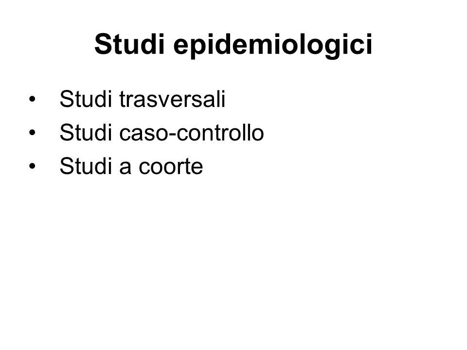 Studi epidemiologici Studi trasversali Studi caso-controllo Studi a coorte