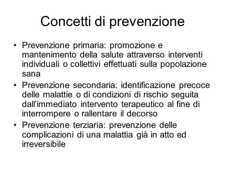 Concetti di prevenzione Prevenzione primaria: promozione e mantenimento della salute attraverso interventi individuali o collettivi effettuati sulla p