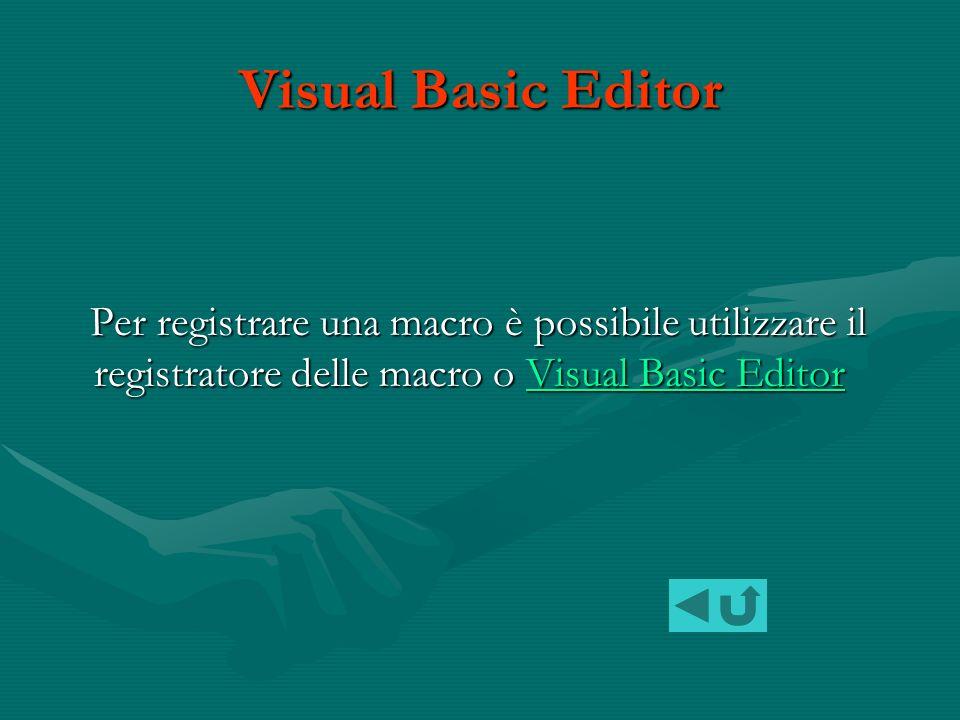 Quando si registra una macro, è possibile utilizzare il mouse per selezionare comandi o opzioni, ma non testo.
