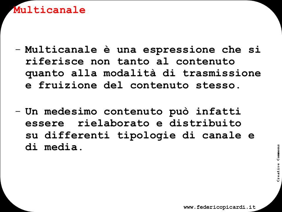 www.federicopicardi.it Creative Commons Contenuto Multicanale Declinazione del contenuto su canali differenti Web Sms/mms Stampa TV