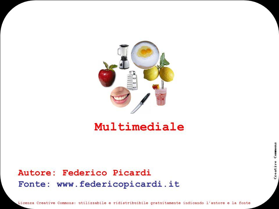 www.federicopicardi.it Creative Commons Viene detto multimediale un contenuto che è composto a sua volta da differenti tipologie di contenuti (testuali, audio, video, immagini, forme interattive o altre ancora).
