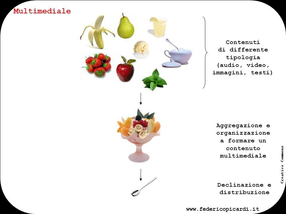 www.federicopicardi.it Creative Commons Un contenuto multimediale può inoltre essere declinato su canali differenti generando così un ulteriore evoluzione: multimediale e multicanale Multimediale e multicanale