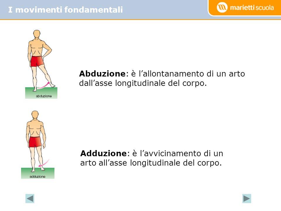 I movimenti fondamentali Abduzione: è lallontanamento di un arto dallasse longitudinale del corpo.