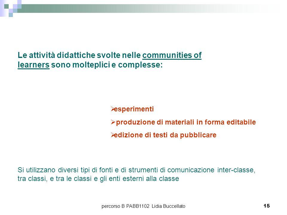 percorso B PABB1102 Lidia Buccellato15 Le attività didattiche svolte nelle communities of learners sono molteplici e complesse: esperimenti produzione