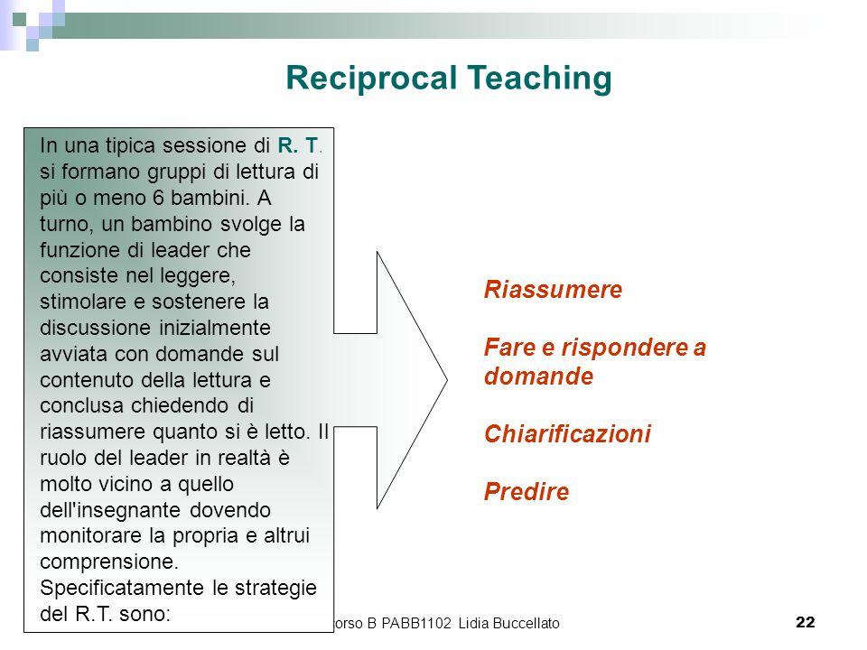 percorso B PABB1102 Lidia Buccellato22 Riassumere Fare e rispondere a domande Chiarificazioni Predire Reciprocal Teaching In una tipica sessione di R.