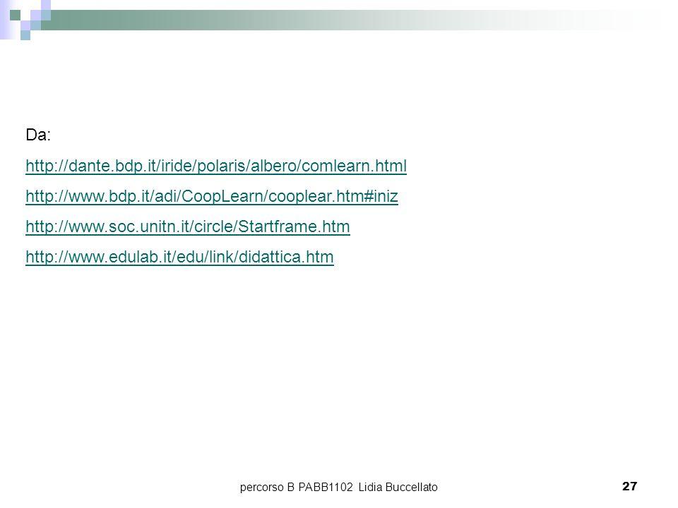 percorso B PABB1102 Lidia Buccellato27 Da: http://dante.bdp.it/iride/polaris/albero/comlearn.html http://www.bdp.it/adi/CoopLearn/cooplear.htm#iniz ht