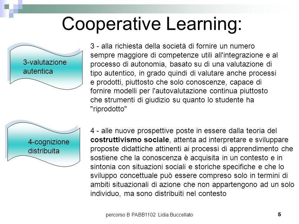 percorso B PABB1102 Lidia Buccellato6 Cooperative Learning: gruppi di lavoro eterogenei e costruttivi effettiva interdipendenza positiva dei ruoli pari opportunità di successo centrato su tende a creare un contesto educativo non competitivo responsabile collaborativo produttivo di processi cognitivi di ordine superiore