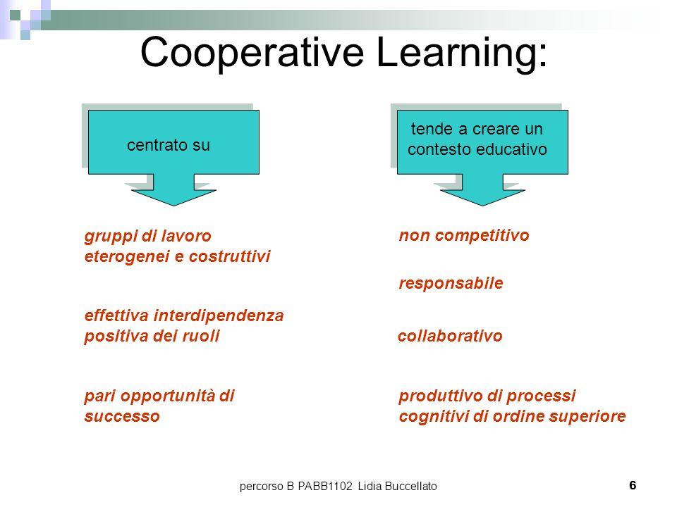percorso B PABB1102 Lidia Buccellato6 Cooperative Learning: gruppi di lavoro eterogenei e costruttivi effettiva interdipendenza positiva dei ruoli par
