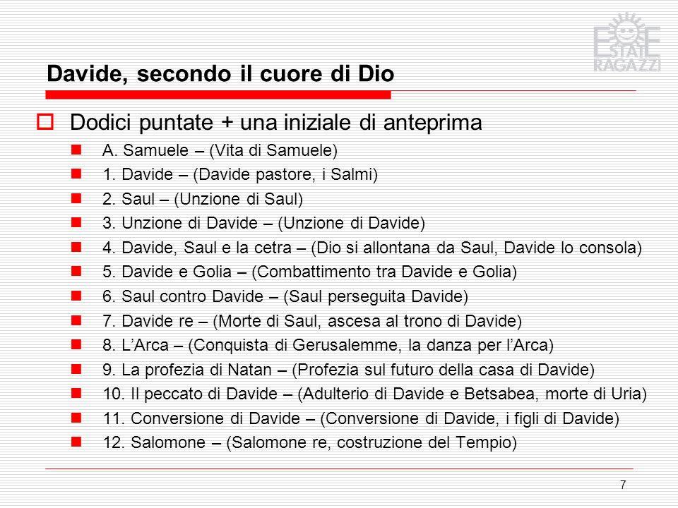 7 Dodici puntate + una iniziale di anteprima A. Samuele – (Vita di Samuele) 1. Davide – (Davide pastore, i Salmi) 2. Saul – (Unzione di Saul) 3. Unzio