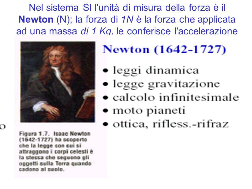 Nel sistema SI l unità di misura della forza è il Newton (N); la forza di 1N è la forza che applicata ad una massa di 1 Kg, le conferisce l accelerazione di 1 m/s 2