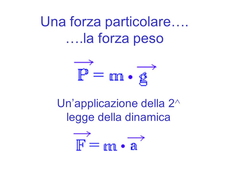 Una forza particolare…. ….la forza peso Unapplicazione della 2 ^ legge della dinamica