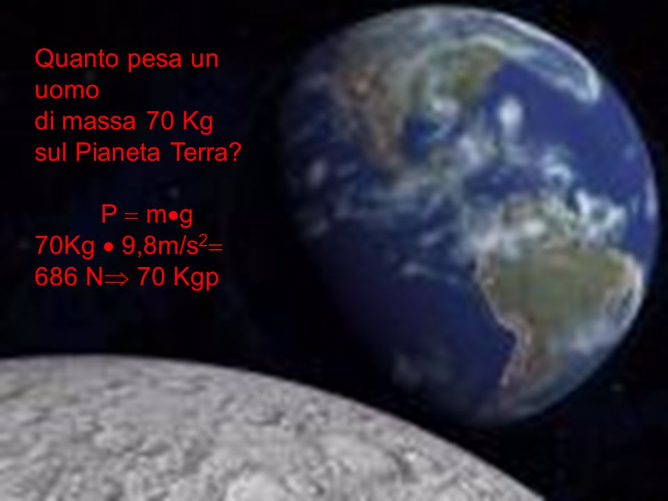 Quanto pesa un uomo di massa 70 Kg sul Pianeta Terra? P m g 70Kg 9,8m/s 2 686 N 70 Kgp