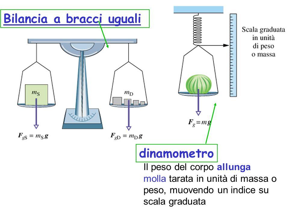 Bilancia a bracci uguali dinamometro Il peso del corpo allunga molla tarata in unità di massa o peso, muovendo un indice su scala graduata