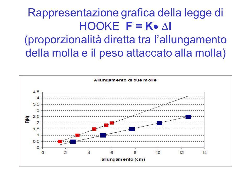 Rappresentazione grafica della legge di HOOKE F = K l (proporzionalità diretta tra lallungamento della molla e il peso attaccato alla molla)