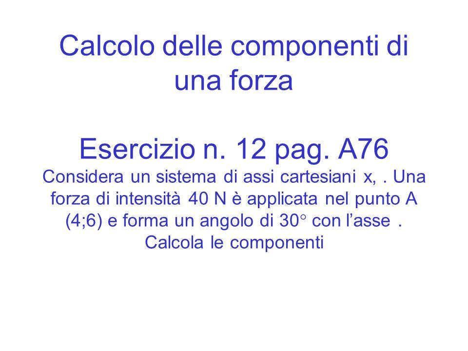 Calcolo delle componenti di una forza Esercizio n. 12 pag. A76 Considera un sistema di assi cartesiani x,. Una forza di intensità 40 N è applicata nel