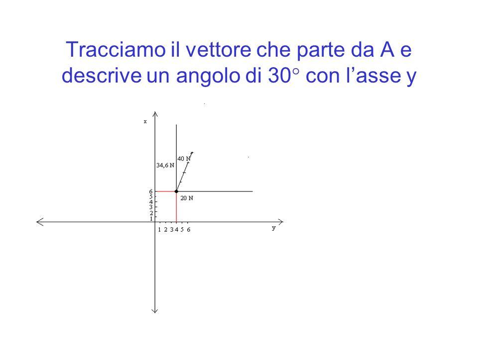 Tracciamo il vettore che parte da A e descrive un angolo di 30 con lasse y