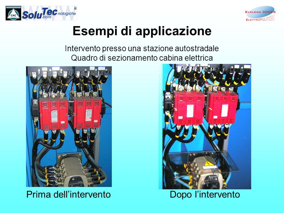 Esempi di applicazione Intervento presso una stazione autostradale Quadro di sezionamento cabina elettrica Prima dellinterventoDopo lintervento