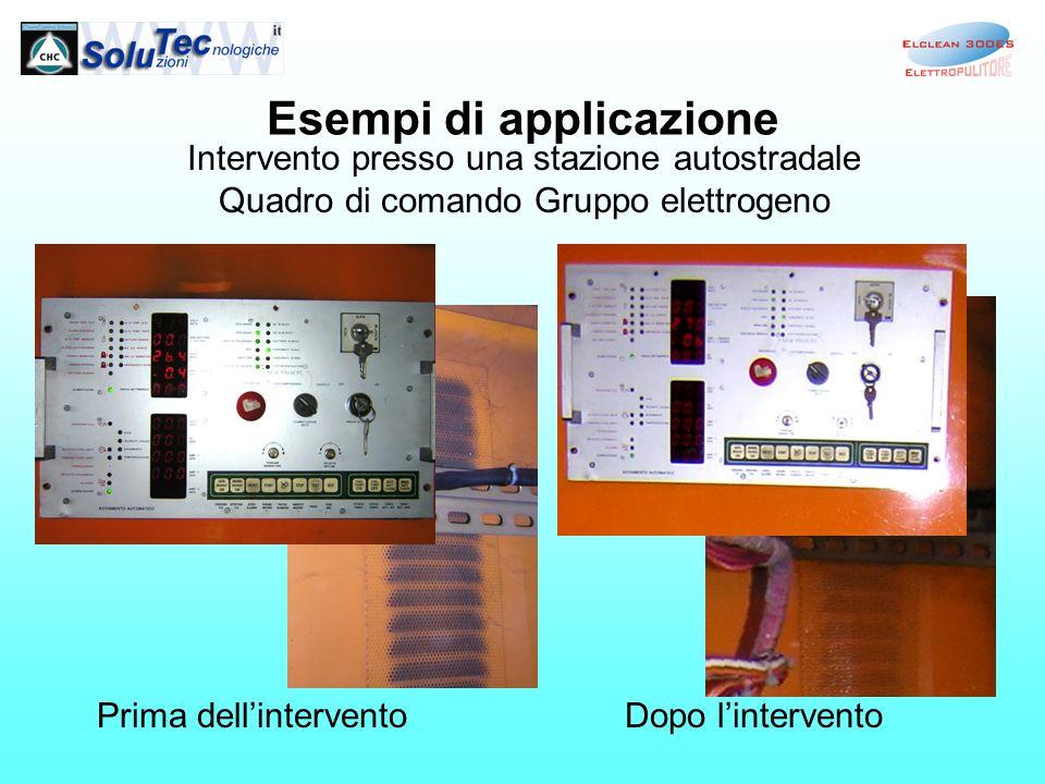Esempi di applicazione Intervento presso una stazione autostradale Quadro di comando Gruppo elettrogeno Prima dellinterventoDopo lintervento