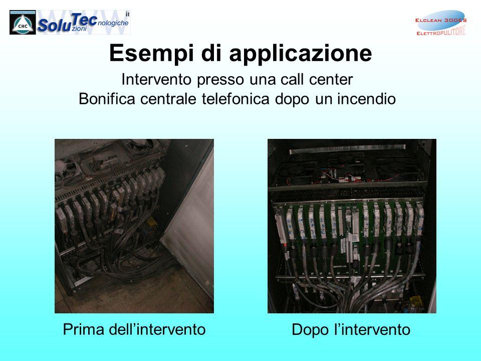 Esempi di applicazione Intervento presso una call center Bonifica centrale telefonica dopo un incendio Prima dellintervento Dopo lintervento