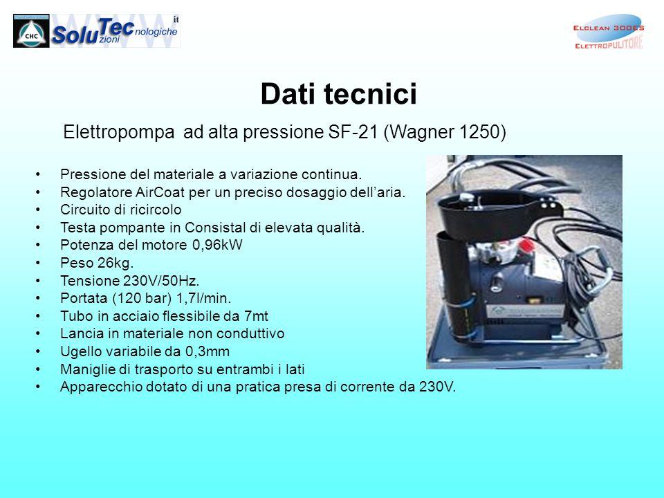 Dati tecnici Elettropompa ad alta pressione SF-21 (Wagner 1250) Pressione del materiale a variazione continua. Regolatore AirCoat per un preciso dosag
