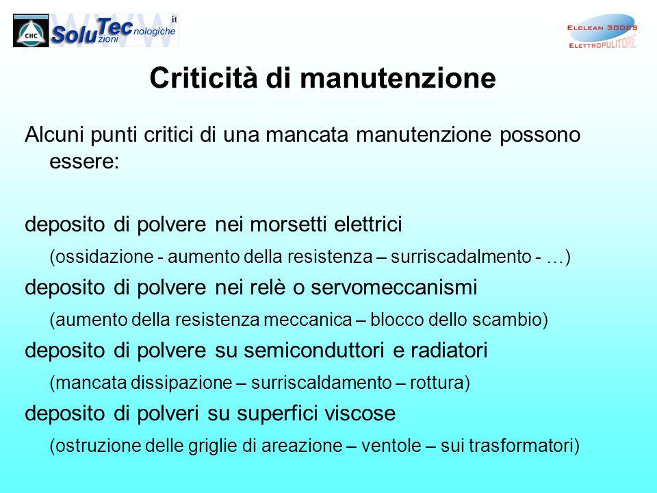 Criticità di manutenzione Alcuni punti critici di una mancata manutenzione possono essere: deposito di polvere nei morsetti elettrici (ossidazione - a