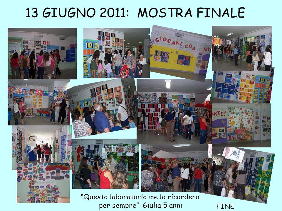 13 GIUGNO 2011: MOSTRA FINALE Questo laboratorio me lo ricordero per sempre Giulia 5 anni FINE