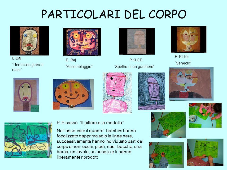 PARTICOLARI DEL CORPO P. KLEE Senecio P.KLEE Spettro di un guerriero E.Baj Uomo con grande naso E. Baj Assemblaggio P. Picasso Il pittore e la modella