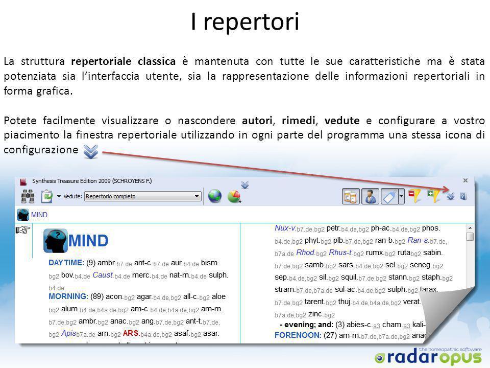 I repertori La struttura repertoriale classica è mantenuta con tutte le sue caratteristiche ma è stata potenziata sia linterfaccia utente, sia la rapp