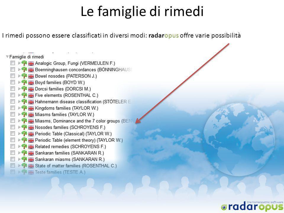 Le famiglie di rimedi I rimedi possono essere classificati in diversi modi: radaropus offre varie possibilità