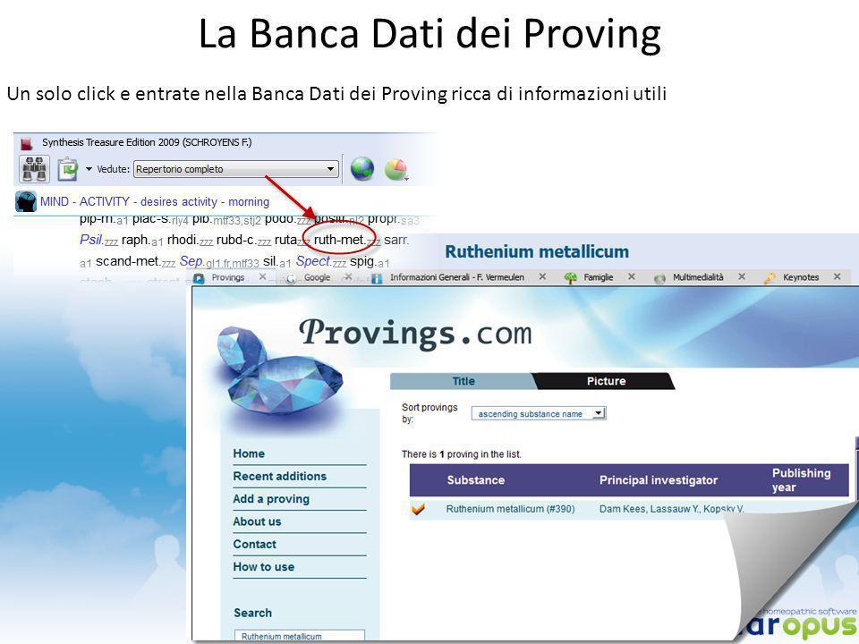 La Banca Dati dei Proving Un solo click e entrate nella Banca Dati dei Proving ricca di informazioni utili