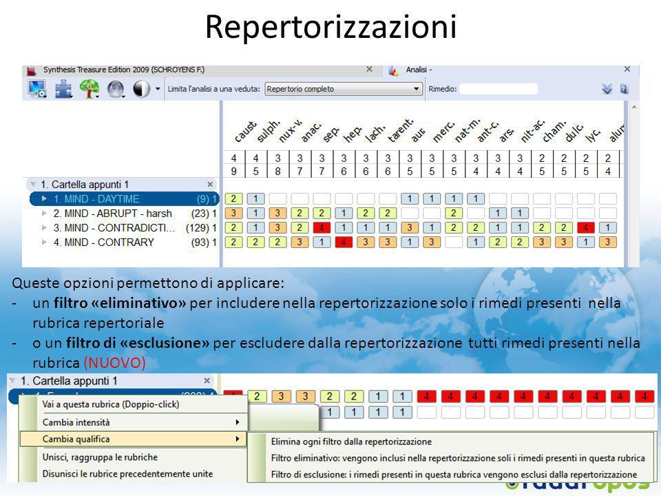 Repertorizzazioni Queste opzioni permettono di applicare: -un filtro «eliminativo» per includere nella repertorizzazione solo i rimedi presenti nella