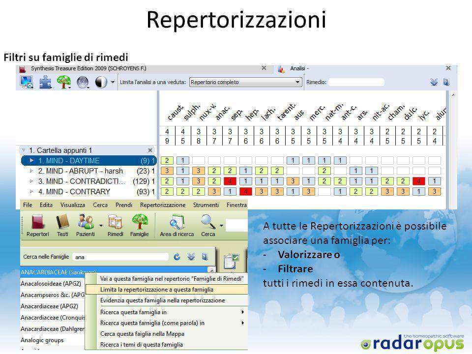 A tutte le Repertorizzazioni è possibile associare una famiglia per: -Valorizzare o -Filtrare tutti i rimedi in essa contenuta. Repertorizzazioni Filt